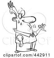 Royalty Free RF Clip Art Illustration Of A Cartoon Black And White Outline Design Of A Man Eating A Hot Pepper by toonaday