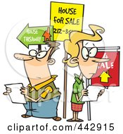 Royalty Free RF Clip Art Illustration Of A Cartoon Couple House Hunting by toonaday