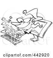 Royalty Free RF Clip Art Illustration Of A Cartoon Black And White Outline Design Of A Woman Typing From A Computer Screen