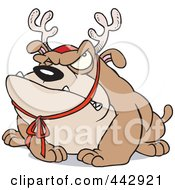 Royalty Free RF Clip Art Illustration Of A Cartoon Grouchy Bulldog Wearing Antlers