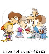 Royalty Free RF Clip Art Illustration Of A Cartoon Huddled Family Reading A Football Play Book by toonaday