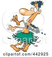 Cartoon Drunk Man Hula Dancing