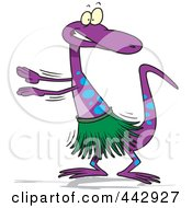 Royalty Free RF Clip Art Illustration Of A Cartoon Gecko Hula Dancing