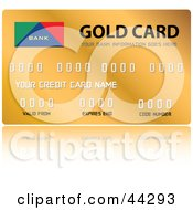 Clipart Illustration Of A Shiny Golden Credit Card