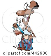 Royalty Free RF Clip Art Illustration Of A Cartoon Black Man Pouring Hot Coffee On His Feet