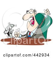 Royalty Free RF Clip Art Illustration Of A Cartoon Mad Boss Banging His Fists On His Desk