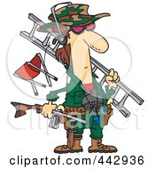 Royalty Free RF Clip Art Illustration Of A Cartoon Hunter Carrying His Gear by toonaday