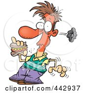 Royalty Free RF Clip Art Illustration Of A Cartoon Man Eating A Spicy Hot Dog by toonaday