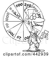 Royalty Free RF Clip Art Illustration Of A Cartoon Black And White Outline Design Of A Game Show Host With A Wheel