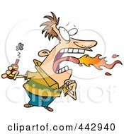 Royalty Free RF Clip Art Illustration Of A Cartoon Firey Mouthed Man With Hot Sauce