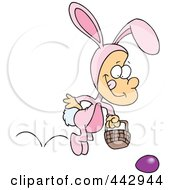Royalty Free RF Clip Art Illustration Of A Cartoon Boy Hopping In An Easter Bunny Costume by toonaday