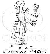 Royalty Free RF Clip Art Illustration Of A Cartoon Black And White Outline Design Of A Cold Man Shivering In His Jacket And Smoking by toonaday