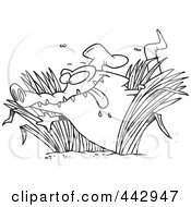 Royalty Free RF Clip Art Illustration Of A Cartoon Black And White Outline Design Of A Hungry Chef Gator In Grasses