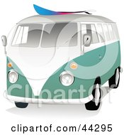 Clipart Illustration Of A 3d Green And White VW Van With A Surf Board On The Roof