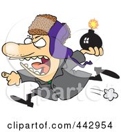 Royalty Free RF Clip Art Illustration Of A Cartoon Mad Bomber Man by toonaday