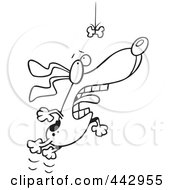 Royalty Free RF Clip Art Illustration Of A Cartoon Black And White Outline Design Of A Motivated Dog Leaping For A Suspended Bone