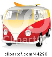 Clipart Illustration Of A 3d Orange And Yellow VW Van With A Surf Board On The Roof