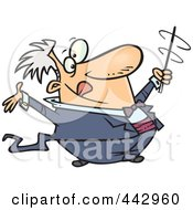 Royalty Free RF Clip Art Illustration Of A Cartoon Music Conductor Swirling His Baton