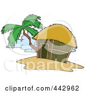 Royalty Free RF Clip Art Illustration Of A Cartoon Tropical Hut On An Island by toonaday