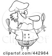 Royalty Free RF Clip Art Illustration Of A Cartoon Black And White Outline Design Of A Crazy Chef