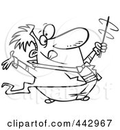 Royalty Free RF Clip Art Illustration Of A Cartoon Black And White Outline Design Of A Music Conductor Swirling His Baton by toonaday