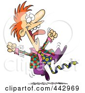 Royalty Free RF Clip Art Illustration Of A Cartoon Leaping Hyper Businessman by Ron Leishman