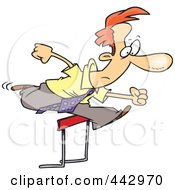 Royalty Free RF Clip Art Illustration Of A Cartoon Businesman Leaping Over A Hurdle by toonaday