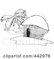 Royalty Free RF Clip Art Illustration Of A Cartoon Black And White Outline Design Of A Tropical Hut On An Island