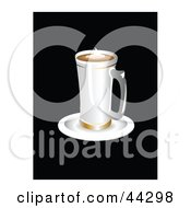 Clipart Illustration Of A Tall Steaming Latte Glass On A Saucer