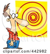 Royalty Free RF Clip Art Illustration Of A Cartoon Hypnotized Man Staring At A Spiral