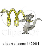 Royalty Free RF Clip Art Illustration Of A Cartoon Mongoose Attacking A Snake by toonaday