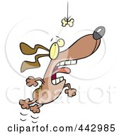 Royalty Free RF Clip Art Illustration Of A Cartoon Motivated Dog Leaping For A Suspended Bone