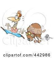 Royalty Free RF Clip Art Illustration Of A Cartoon Man Running From A Mad Dog