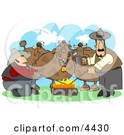 Male Ranchers Heating Branding Irons In A Campfire Beside Their Cattle