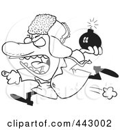 Royalty Free RF Clip Art Illustration Of A Cartoon Black And White Outline Design Of A Mad Bomber Man