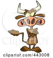Royalty Free RF Clip Art Illustration Of A Cartoon Mad Cow With Folded Arms