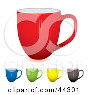 Royalty Free RF Clip Art Of Coffee Cups Red Blue Green Yellow And Black