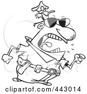 Royalty Free RF Clip Art Illustration Of A Cartoon Black And White Outline Design Of A Mad Police Man Pointing His Finger