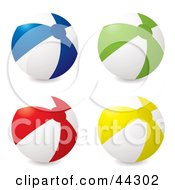 Royalty Free RF Clip Art Of Four Inflatable Beach Balls Blue Green Red And Yellow by michaeltravers