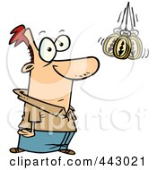 Royalty Free RF Clip Art Illustration Of A Cartoon Hypnotized Man Staring At A Swaying Pocket Watch