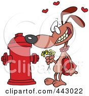 Royalty Free RF Clip Art Illustration Of A Cartoon Dog Trying To Court A Fire Hydrant