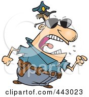 Royalty Free RF Clip Art Illustration Of A Cartoon Mad Police Man Pointing His Finger