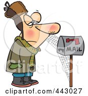 Royalty Free RF Clip Art Illustration Of A Cartoon Man Waiting By Mailbox With Cobwebs