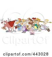 Royalty Free RF Clip Art Illustration Of A Cartoon Cow With Eight Milking Maids by toonaday