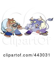 Royalty Free RF Clip Art Illustration Of A Cartoon Market Bull And Bear Engaged In Tug Of War
