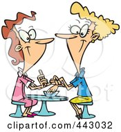 Royalty Free RF Clip Art Illustration Of A Cartoon Pleasant Manicurist Working On A Client by toonaday