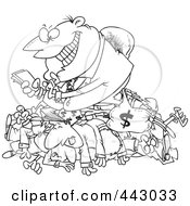 Royalty Free RF Clip Art Illustration Of A Cartoon Black And White Outline Design Of A Greedy Manager Counting His Money And Sitting On His Employees