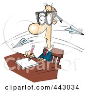 Royalty Free RF Clip Art Illustration Of Cartoon Paper Planes Flying Past A Working Businessman by toonaday