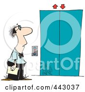 Royalty Free RF Clip Art Illustration Of A Cartoon Businessman Waiting For An Elevator by toonaday