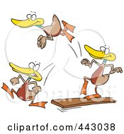 Royalty Free RF Clip Art Illustration Of Cartoon Mallard Ducks Jumping Off Of A Diving Board by toonaday